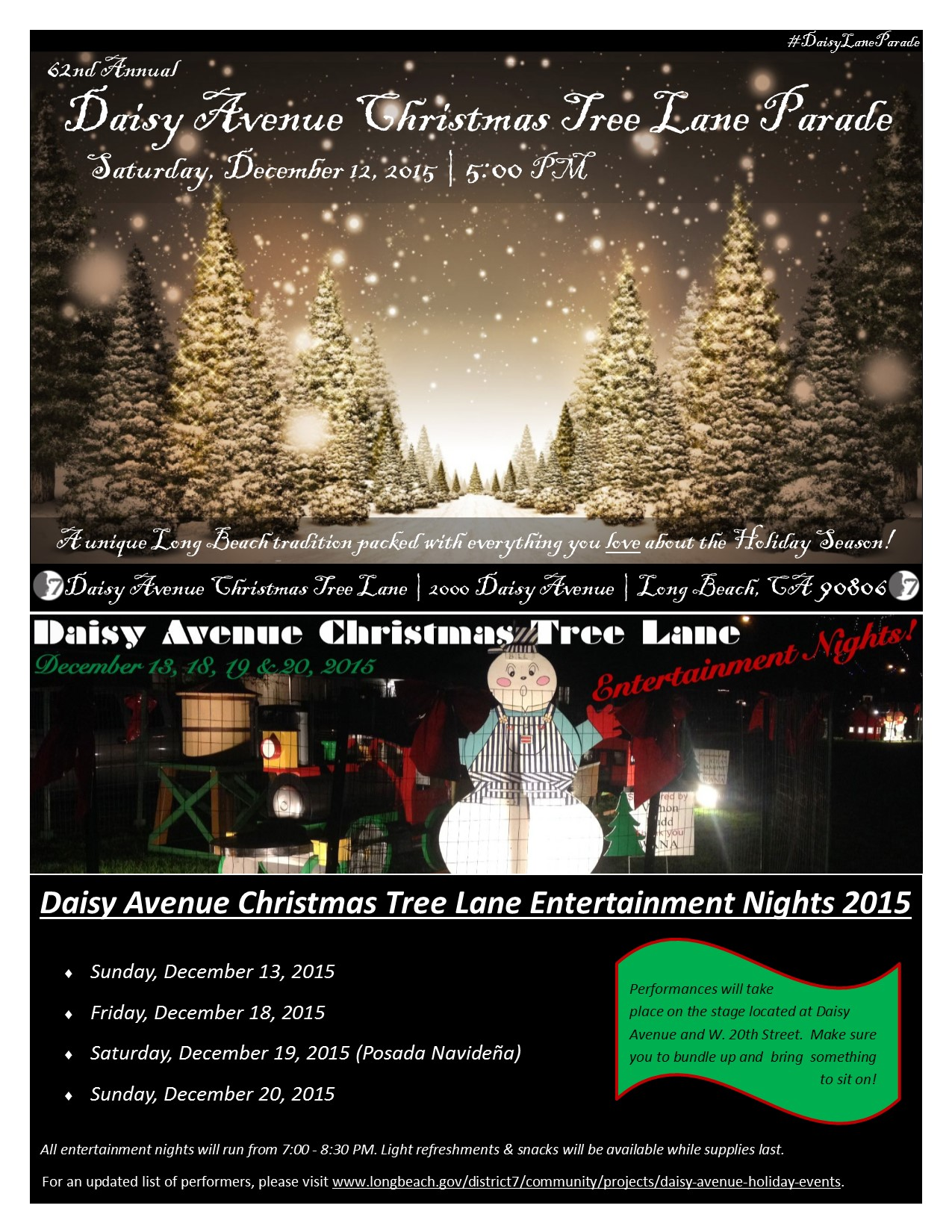 Daisy Avenue Holiday Events Flier 2015