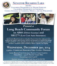 Long Beach Community Forum on AB60 & SB1273 Flyer, No Link Attached