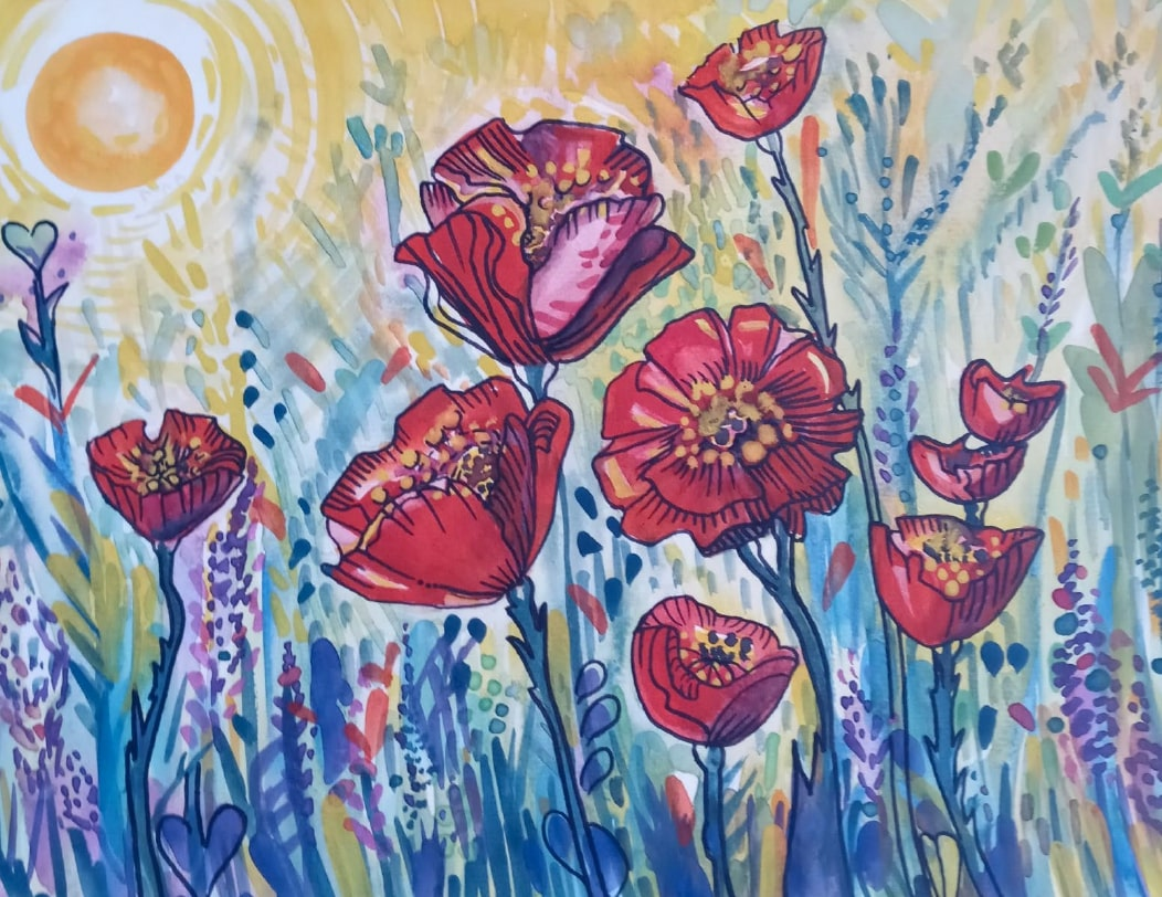 Long Beach Airport Pandemic Art Exhibit - Poppies