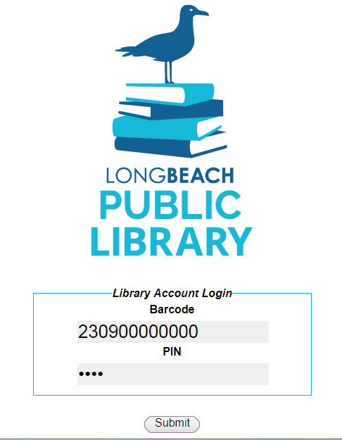 Library Account Login Page