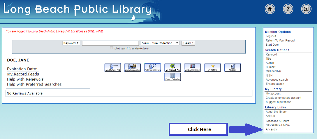 Library Account Home Page